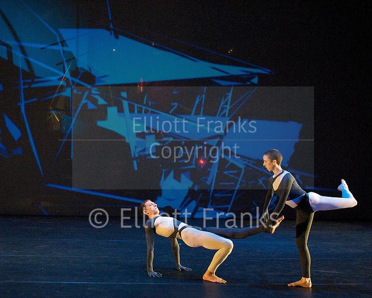 Nearly Ninety<br /> The Merce Cunningham Dance Company <br /> choreography by Merce Cunningham<br /> at The Barbican Theatre, London, Great Britain <br /> rehesrsal <br /> 26th October 2010 <br /> <br /> <br /> Daniel Madoff<br /> Julie Cunningham <br /> <br /> <br /> <br /> Photograph by Elliott Franks<br /> 2010&copy;Elliott Franks