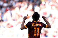 Calcio, Serie A: Roma vs Sassuolo. Roma, stadio Olimpico, 20 settembre 2015.<br /> Roma&rsquo;s Mohamed Salah celebrates after scoring during the Italian Serie A football match between Roma and Sassuolo at Rome's Olympic stadium, 20 September 2015.<br /> UPDATE IMAGES PRESS/Isabella Bonotto