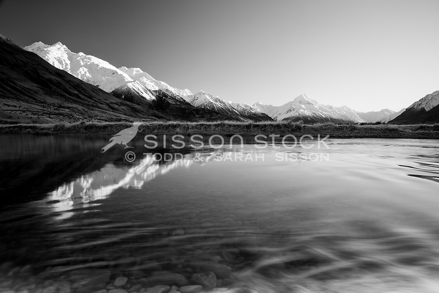 Mt Cook / Aoraki seen from the banks of the Tasman River, McKenzie Country (Black and White)