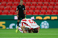 Ramadan Sobhi of Stoke City celebrates his goal during the Carabao Cup match between Stoke City and Rochdale at the Bet365 Stadium, Stoke-on-Trent, England on 23 August 2017. Photo by James Williamson / PRiME Media Images.