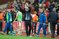 Stoke City manager Mark Hughes claps the fans at full time during the Carabao Cup match between Stoke City and Rochdale at the Bet365 Stadium, Stoke-on-Trent, England on 23 August 2017. Photo by James Williamson / PRiME Media Images.