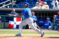 Dominican Republic second baseman Robinson Cano #24 hits a home run during a Spring Training game against the Philadelphia Phillies at Bright House Field on March 5, 2013 in Clearwater, Florida.  The Dominican defeated Philadelphia 15-2.  (Mike Janes/Four Seam Images)