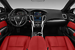 Stock photo of straight dashboard view of a 2018 Acura TLX AUTO Technology & A-Spec Pack  RED Door 4 Sedan