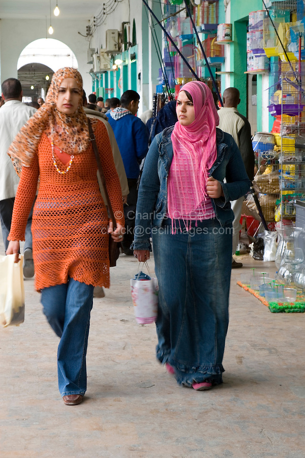 Tripoli, Libya - Women Shoppers, Rashid Street Market.  Virtually all Libyan Women wear scarves.