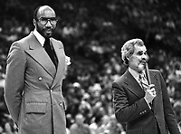 Announcer Bill King with Golden State Warrior center Nate Thurmond at his jersey retired. (1978 photo/Ron Riesterer)
