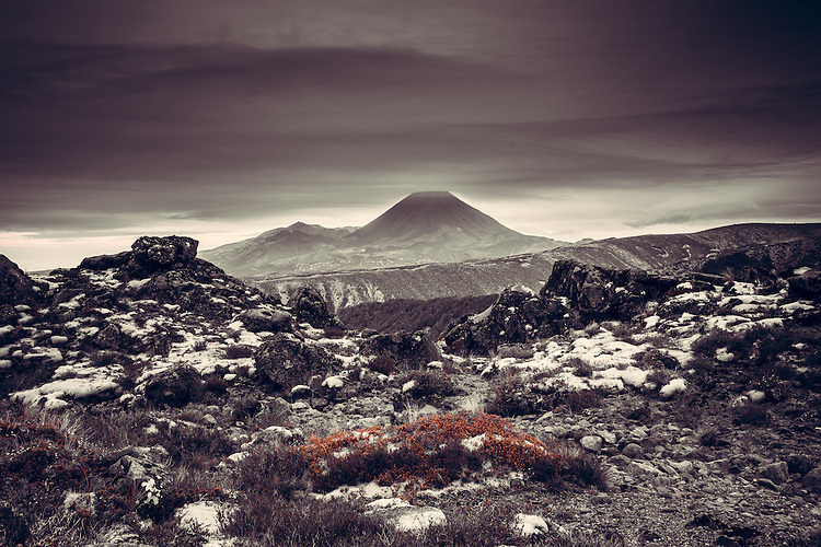 Cloud cap over Mt Ngaurahoe, from The Bruce Road Whakapapa North Island, New Zealand - stock photo, canvas, fine art print