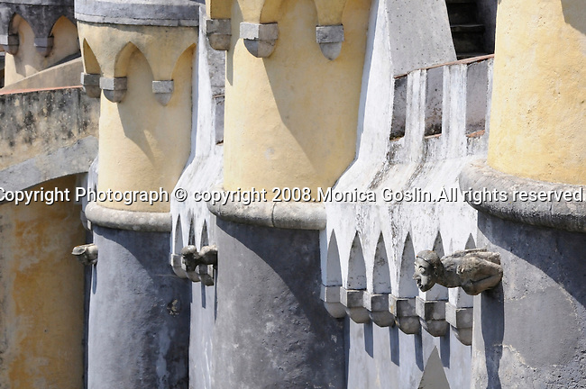 Gargoyles on the outside of the Pena National Palace walls; Sintra, Portugal.