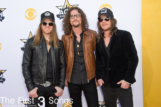 Kelby Ray, Neil Mason, and Jaren Johnston of The Cadillac Three attend the 50th Academy Of Country Music Awards at AT&T Stadium on April 19, 2015 in Arlington, Texas.