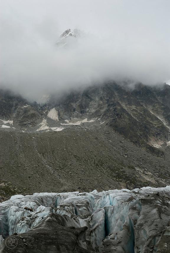 Clouds over the Glacier d'Argentiere with the Aiguille d'Argentière, September 2007