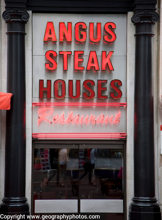Angus Steak Houses restaurant sign, London, England