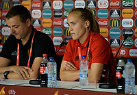 20170719 - BREDA , NETHERLANDS :  Belgian Janice Cayman (r) pictured during a press conference of the Belgian national women's soccer team Red Flames, on Wednesday 19 July 2017 at stadion Rat Verlegh in Breda on matchday -1 . The Red Flames are at the Women's European Championship 2017 in the Netherlands. PHOTO SPORTPIX.BE | DAVID CATRY