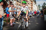 Mark Cavendish (GER) Team Dimension Data arrives at sign on before the start of Stage 2 of the Deutschland Tour 2019, running 202km from Marburg to Gottinger, Germany. 30th August 2019.<br /> Picture: Mario Stiehl | Cyclefile<br /> All photos usage must carry mandatory copyright credit (© Cyclefile | Mario Stiehl)