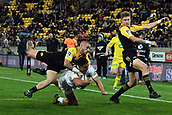 9th June 2017, Westpac Stadium, Wellington, New Zealand; Super Rugby; Hurricanes versus Chiefs;  Hurricanes captain TJ Perenara with the try saving tackle on Chiefs centre Anton Lienert-Brown