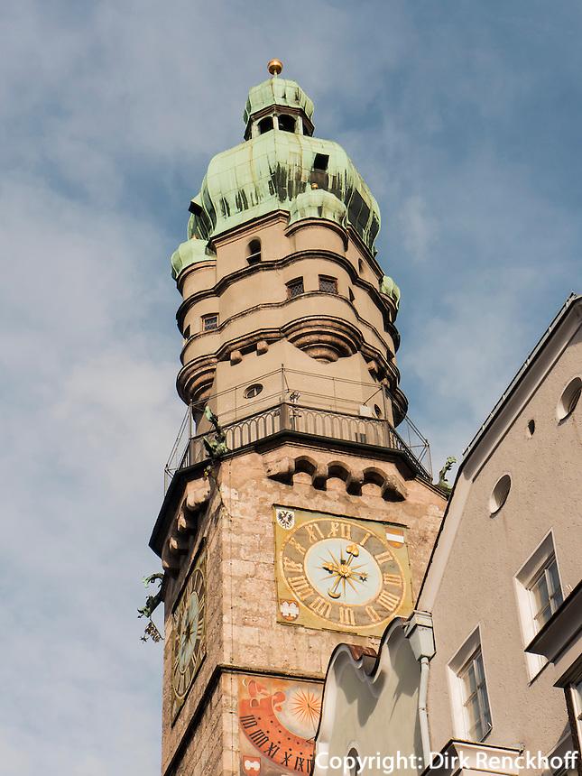 Stadtturm auf der Herzog-Friedrich-Straße, Innsbruck, Tirol, Österreich