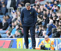 Blackburn Rovers manager Tony Mowbray looks dejected as his side fall to a home defeat<br /> <br /> Photographer Rich Linley/CameraSport<br /> <br /> The EFL Sky Bet Championship - Blackburn Rovers v Preston North End - Saturday 9th March 2019 - Ewood Park - Blackburn<br /> <br /> World Copyright © 2019 CameraSport. All rights reserved. 43 Linden Ave. Countesthorpe. Leicester. England. LE8 5PG - Tel: +44 (0) 116 277 4147 - admin@camerasport.com - www.camerasport.com