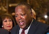 Mayor Steve Benjamin (Democrat of Columbia, South Carolina) speaks to the press in the lobby of Trump Tower following his meeting with United States President-elect Trump in New York, NY, USA December 15, 2016. <br /> Credit: Albin Lohr-Jones / Pool via CNP