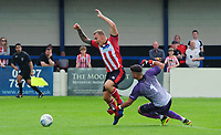Lincoln City's Harry Anderson is fouled by Gainsborough Trinity's trialist, to win a penalty<br /> <br /> Photographer Chris Vaughan/CameraSport<br /> <br /> Football Pre-Season Friendly (Community Festival of Lincolnshire) - Gainsborough Trinity v Lincoln City - Saturday 6th July 2019 - The Martin & Co Arena - Gainsborough<br /> <br /> World Copyright © 2018 CameraSport. All rights reserved. 43 Linden Ave. Countesthorpe. Leicester. England. LE8 5PG - Tel: +44 (0) 116 277 4147 - admin@camerasport.com - www.camerasport.com