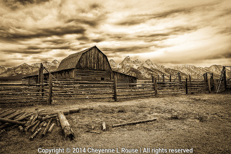 Teton Ranch Barn - Sepia - Grand Teton NP - Wyoming