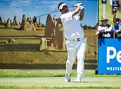 10th February 2018, Lake Karrinyup Country Club, Karrinyup, Australia; ISPS HANDA World Super 6 Perth golf, third round; Prom Meesawat (THA) drives