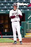 Kevin Medrano (13) of the Missouri State Bears at bat during a game against the Oral Roberts Golden Eagles on March 27, 2011 at Hammons Field in Springfield, Missouri.  Photo By David Welker/Four Seam Images