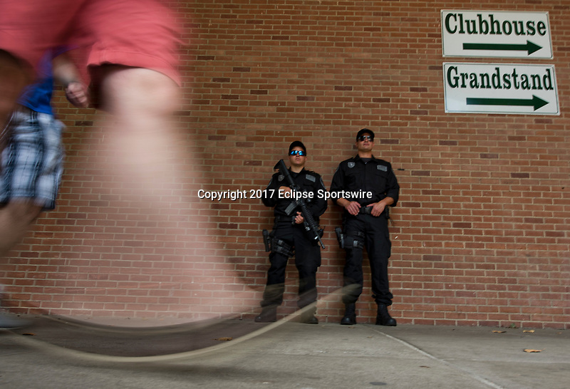 ELMONT, NY - JUNE 10: SWAT officers from Nassau County Police Department stand guard near an entryway on Belmont Stakes Day at Belmont Park on June 10, 2017 in Elmont, New York (Photo by Scott Serio/Eclipse Sportswire/Getty Images)
