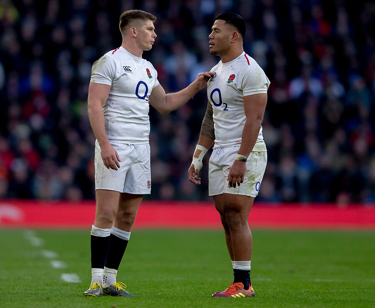 England's Owen Farrell and England's Manu Tuilagi<br /> <br /> Photographer Bob Bradford/CameraSport<br /> <br /> Guinness Six Nations Championship - England v France - Sunday 10th February 2019 - Twickenham Stadium - London<br /> <br /> World Copyright &copy; 2019 CameraSport. All rights reserved. 43 Linden Ave. Countesthorpe. Leicester. England. LE8 5PG - Tel: +44 (0) 116 277 4147 - admin@camerasport.com - www.camerasport.com