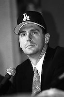 Los Angeles Dodgers pitcher Kevin Brown at a press conference announcing Brown's signing with the Los Angeles Dodgers at Dodger Stadium during the 1998 season in Los Angeles, California. (Larry Goren/Four Seam Images)
