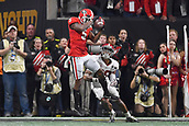 January 8th 2018, Atlanta, GA, USA; Georgia Bulldogs wide receiver Terry Godwin (5) beats Alabama Crimson Tide defensive back Anthony Averett (28) to catch the football during the College Football Playoff National Championship Game between the Alabama Crimson Tide and the Georgia Bulldogs on January 8, 2018 at Mercedes-Benz Stadium in Atlanta, GA.