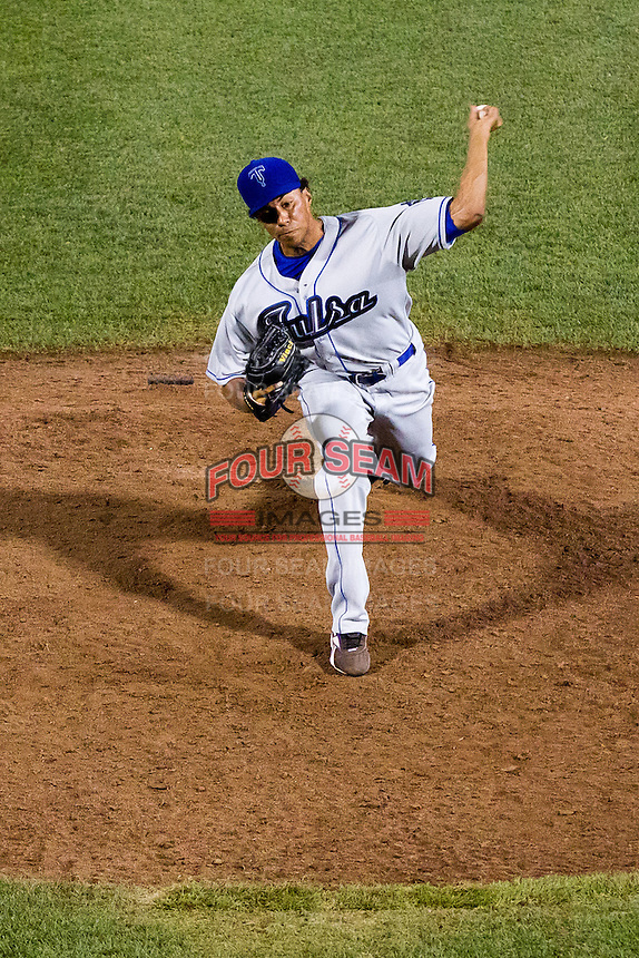 Joe Torres (24) of the Tulsa Drillers delivers a pitch during a game against the Springfield Cardinals at Hammons Field on July 18, 2011 in Springfield, Missouri. Tulsa defeated Springfield 13-8. (David Welker / Four Seam Images)