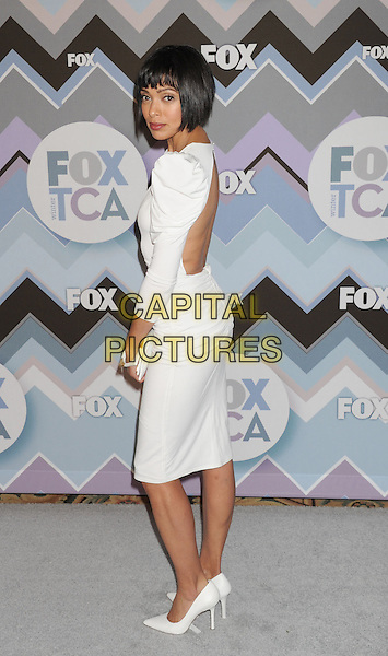 Tamara Taylor.arriving at the 2013 TCA Winter Press Tour - FOX All-Star Party at The Langham Huntington Hotel and Spa in Pasadena, California, USA, .January 8th, 2013.   .full length white dress should pads ruched sleeves v-neck low cut side low back .CAP/ROT/TM.©Tony Michaels/Roth Stock/Capital Pictures
