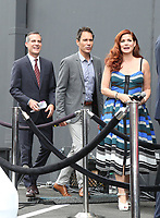 02 August 2017 - Universal City, California.  Debra Messing, Eric McCormack, Eric Garcetti. 'Will & Grace' start of production kick off event and ribbon cutting ceremony at Universal Studios Photo Credit: PMA/AdMedia