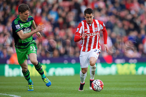 02.04.2016. Britannia Stadium, Stoke, England. Barclays Premier League. Stoke City versus Swansea City.  Stoke City forward Bojan Krkic sets up the shot before scoring Stokes second goal.