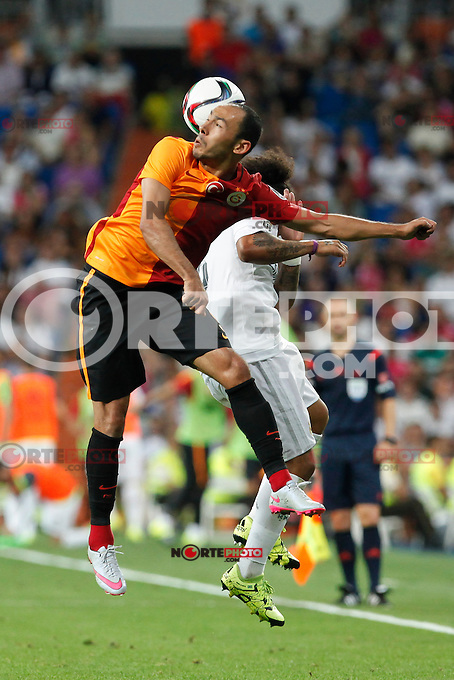 Real Madrid´s Marcelo Vieira (R) and Galatasaray´s Umut Bulut during Santiago Bernabeu Trophy match at Santiago Bernabeu stadium in Madrid, Spain. August 18, 2015. (ALTERPHOTOS/Victor Blanco)