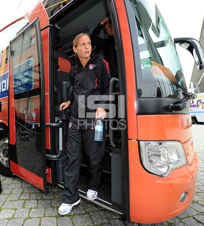 Christie Rampone, player of the USA national team, arrives during the FIFA Women's World Cup 2011 in Germany the Maritim Hotel in Dresden, Germany on June 23th, 2011.