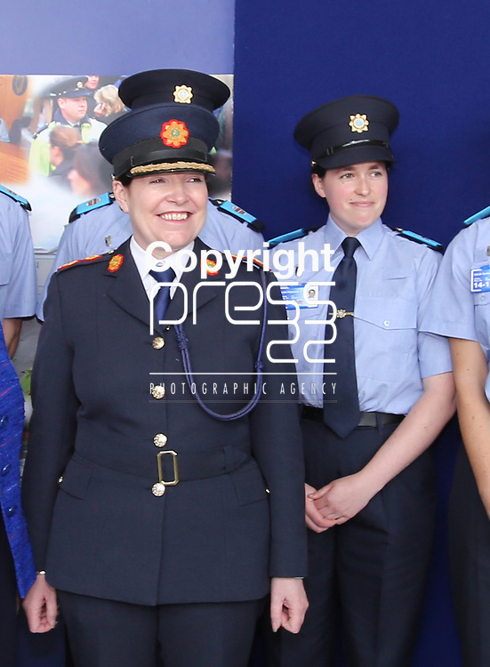 15/9/2014    Garda Commissioner Noirin O'Sullivan pictured with Lisa Shannon, Belharbour, Clare the first students to arrive at the Garda College Templemore since 2009.  Picture Liam Burke Press 22