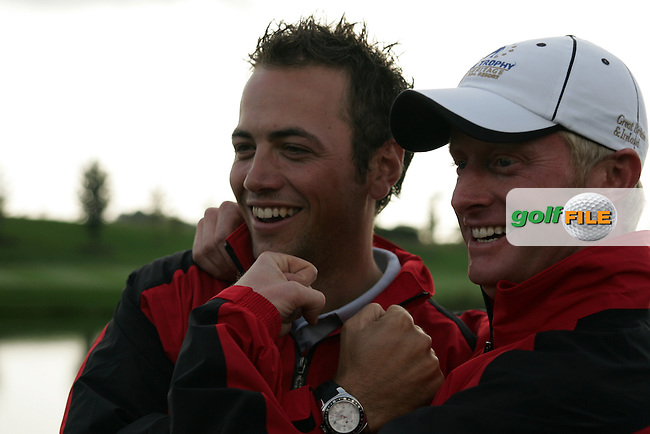 Winning team mates Nick Dougherty and Simon Dyson celebrate after the final round singles of the Seve Trophy at The Heritage Golf Resort, Killenard,Co.Laois, Ireland 30th September 2007 (Photo by Eoin Clarke/GOLFFILE)