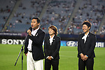 (L-R) Norio Sasak, Aya Miyama, Ayumi Kaihori, AUGUST 19, 2012 - Football / Soccer : London Olympic Women's Football silver medal team's head coach Norio Sasak of Japan speeches in half-time during the FIFA U-20 Women's World Cup Japan 2012 Group A match between Japan 4-1 Mexico at Miyagi Stadium in Miyagi, Japan. (Photo by Toshihiro Kitagawa/AFLO)