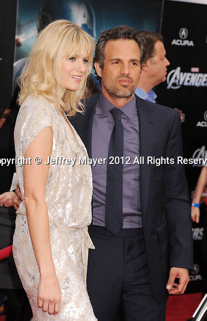HOLLYWOOD, CA - APRIL 11: Mark Ruffalo and Sunrise Coigney attend the World premiere of 'Marvel's Avengers' at the El Capitan Theatre on April 11, 2012 in Hollywood, California.