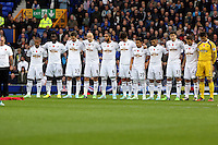 Liverpool, UK. Saturday 01 November 2014<br /> Pictured: Swansea players on a minute's silence for Remembrance <br /> Re: Premier League Everton v Swansea City FC at Goodison Park, Liverpool, Merseyside, UK.