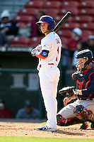 Buffalo Bisons shortstop Jonathan Diaz (1) at bat during a game against the Lehigh Valley IronPigs on May 17, 2014 at Coca-Cola Field in Buffalo, New  York.  Lehigh Valley defeated Buffalo 2-1  (Mike Janes/Four Seam Images)