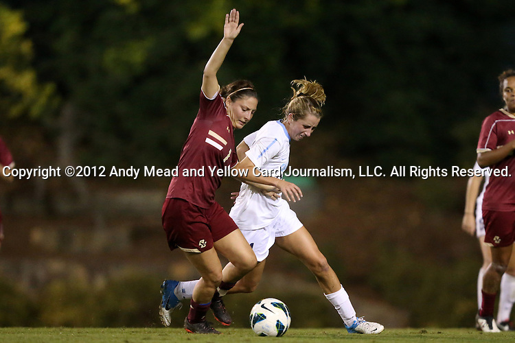 04 October 2012: Boston College's Victoria DiMartino (1) and UNC's Kelly McFarlane (right). The University of North Carolina Tar Heels defeated the Boston College Eagles 1-0 at Fetzer Field in Chapel Hill, North Carolina in a 2012 NCAA Division I Women's Soccer game.