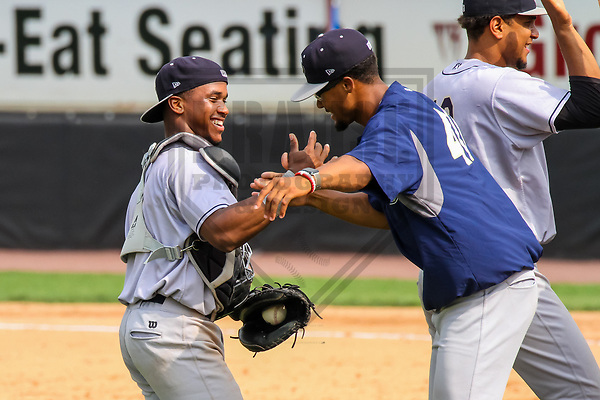Kane County Cougars catcher Fernery Ozuna (9) and pitcher Jon Duplantier (40) during a Midwest League game against the Wisconsin Timber Rattlers on June 11, 2017 at Fox Cities Stadium in Appleton, Wisconsin.  Kane County defeated Wisconsin 6-4. (Brad Krause/Krause Sports Photography)