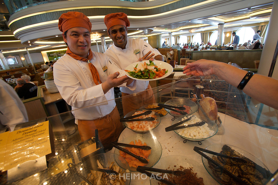 Aboard the Rhapsody of the Seas, on a cruise from Vancouver to Hawaii. Lunch at Edelweiss restaurant: the Salad Buffet.