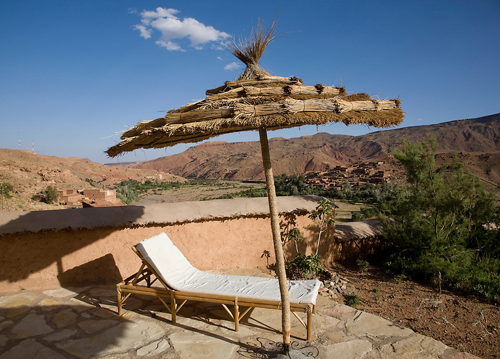 JUNE 2, 2008; HIGH ATLAS, MOROCCO; A lounge chair sits on the patio of the Irocha guest house in the small farming village of Tisselday in the Atlas mountains of southern Morocco. Photo by Matt May