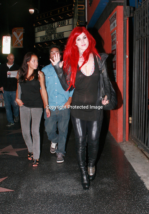 ..June 28th 2010  Monday Night Exclusive...Kat Von D leaving the Music Box theatre after watching the band Concrete Blonde play in Hollywood. Kat was smiling & laughing with her bright red hair & cleavage ..AbilityFilms@yahoo.com.805-427-3519.www.AbilityFilms.com.