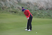 David Kitt (Athenry) on the 12th green during Round 2 of the Ulster Boys Championship at Portrush Golf Club, Portrush, Co. Antrim on the Valley course on Wednesday 31st Oct 2018.<br /> Picture:  Thos Caffrey / www.golffile.ie<br /> <br /> All photo usage must carry mandatory copyright credit (&copy; Golffile | Thos Caffrey)