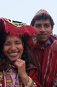 Ollantaytambo, Peru. Couple on their wedding day wearing traditional dress.