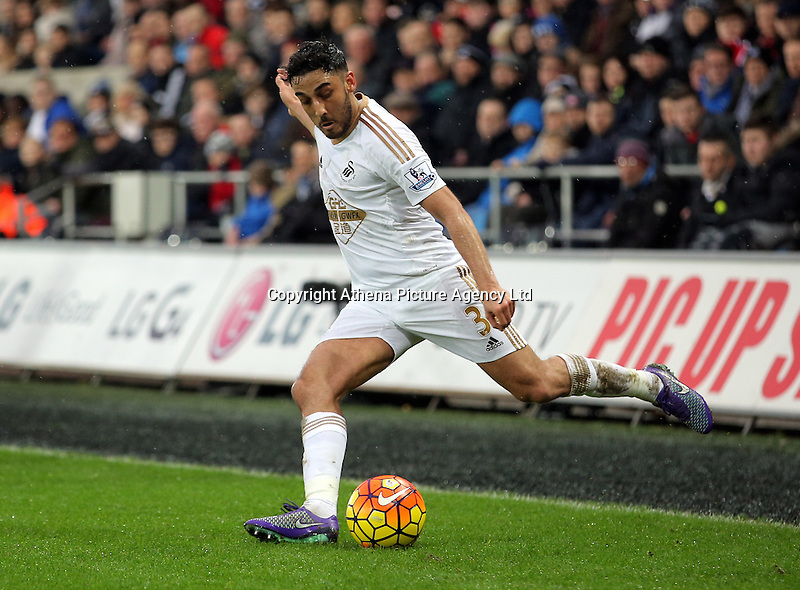 Neil Taylor of Swansea during the Barclays Premier League match between Swansea City and Crystal Palace at the Liberty Stadium, Swansea on February 06 2016