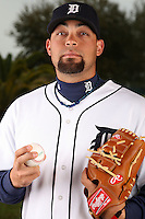 February 27, 2010:  Pitcher Joel Zumaya (54) of the Detroit Tigers poses for a photo during media day at Joker Marchant Stadium in Lakeland, FL.  Photo By Mike Janes/Four Seam Images