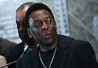 Brazilian soccer legend Pele attends a Press conference at the Empire State Building in New York August 01, 2013 by Kena Betancur / VIEWpress